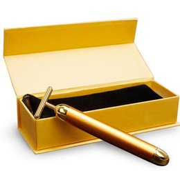 Gold energie online-Energie Beauty Bar 24 Karat Gold Puls Straffende Massagegerät Gesichtsmassagegerät Roller Derma Hautpflege Faltenbehandlung Gesichtsmassagegerät Mit Box