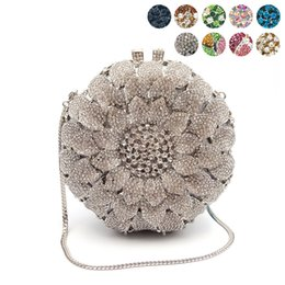 bridal handbags grey Coupons - Women evening party bag diamonds crystal clutch bridal wedding party wallet purse handbag elegant sun flower crystal