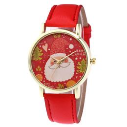 Рождественские часы онлайн-Clock Wristwatch Relogio Masculino Christmas Old man Pattern Leather Analog Quartz Vogue Watches With Clocks Women Quartz
