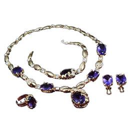lila edelstein-ringe Rabatt Halskette ohrring armband ring partykleid hochzeit zarte frauen schmuck-set lila edelstein anhänger brautschmuck sets