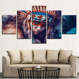 figure girl oil painting Promo Codes - 5 Pcs Combinations HD colorized girl and horse Framed Canvas Painting Wall Decoration Printed Oil Painting poster