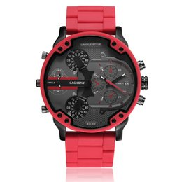 Cagarny Cool Big Quartz Montre Pour Hommes Rouge Silicone Acier Bande Sport Montre-Bracelet Homme tactique Relogio Masculino D7370 Horloge Mâle ? partir de fabricateur
