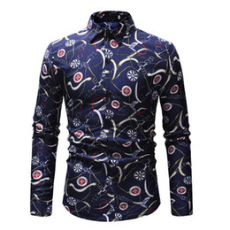 Азиатские мужчины красные рубашки онлайн-Hot Long Sleeve Men's  Tops Tee Slim Fit Casual Red And Blue Flower Printed Shirts Turn Down Collar Asian Size M-XXL