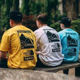 Marcas de camisetas japonesas online-Estilo hip-hop Japonés Snow Mountain Imprimir Camiseta de manga corta Marca de moda Hombres Mujeres Camiseta con cuello redondo Adolescente Monopatín Camiseta suelta