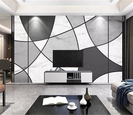lining paper walls Promo Codes - 3d Digital Print Wallpaper Black and White Line Marble Texture Home Decor Living Room Wall Covering Wall paper