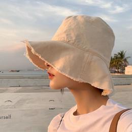 2019 chapéu de feltro azul Verão Japonês Ins Pescador Hat Harajuku Sun Viseira Chapéus Dobrável Em Suas Bolsas Unisex Designer 6 Cores