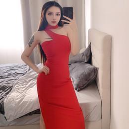 сексуальные корейские бедра Скидка 2019 весна лето корейский повседневная повязка на шею сплит секси хип макси платье женщины талии тонкая вечеринка длинное платье Kleider Damen платья