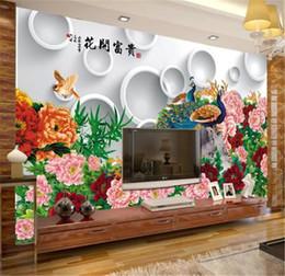 2019 telefono 3d cinese Telefono 3d Wallpaper Stile cinese Blooms Rich Peony Peacock Soggiorno Camera da letto Sfondo Decorazione murale Carta da parati