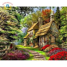 Pintura del bosque casa online-pintura de DIY por números en las casas forestales de lona imágenes para dibujar arte de la pared decoración del hogar pintado a mano para la cocina A010