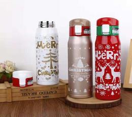 Borraccia natalizia da 500 ml Bicchiere natalizio in vetro inossidabile con doppia parete e stampa di sport da viaggio Tazza da caffè con tazza di acqua calda Tazza da caffè Tazza 4 da