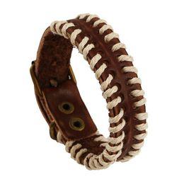 2019 regali di tennis per gli uomini Moda casual semplice braccialetto polsino fatto a mano treccia corda catena in pelle retro braccialetto per le donne regalo degli uomini braccialetti d'epoca gioielli regali di tennis per gli uomini economici