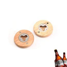bierdeckel Rabatt Blank DIY Holz Flaschenöffner runde Form Bier Flaschenöffner Coaster Kühlschrankmagnet Decor Bier Flaschenöffner Küchenwerkzeug FFA3069