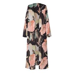 Vintage Flora Impreso Kimono Cardigan Señoras Largas Del Verano Del Verano de Las Mujeres Ocasionales Flojos Blusas Blusas de Protección Solar Negro desde fabricantes