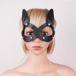 Masques pour les yeux en cuir en Ligne-IEFIEL Femmes PU En Cuir Strass Sexy Chat Masque Demi Visage Masque Eye Cover pour Mascarade Halloween Cosplay Déguisement Costume