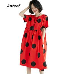 Baumwolle Leinen Plus Size Vintage Dot Print Frauen Beiläufige Lose Sommerkleid Elegante Vestidos Kleidung 2019 Damen Kleider J190511 von Fabrikanten