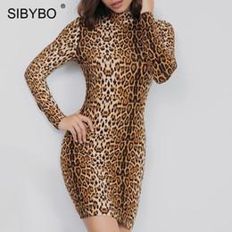 abef2d49733 YIBO Leopard Print Long Sleeve Casual Dress Women Turtleneck Sheath Autumn Women  Bodycon Dress Mini Sexy Party Dress 2018 party