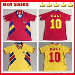 Maglie calcio retrò Romania 1994 6 CHIRICHES 10 MAXIM Home Red Road Away Maglia gialla 94 divise maglia da calcio da
