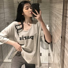 455bc44f5d4388 summer tops for women 2019 Spring fashion Korean style letter print  oversized V neck short sleeved casual ladies basic T shirt