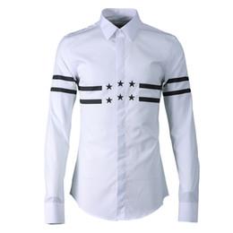 Hohe Qualität Männer Freizeithemd Hochtemperaturpressung Gummistreifen Sterne Camisa Masculino Stereotypes Langarm Baumwolle männlich Hemd von Fabrikanten