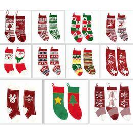 Вязаные подарочные пакеты онлайн-Детские вязаные рождественские сумки чулок висячие носки подарочные пакеты шерстяные елки носки украшения жаккардовые конфеты носки подарочные 20шт LJJA2849