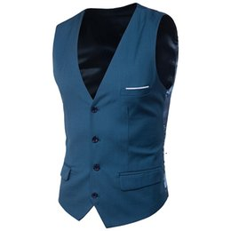 waistcoats v neck for suit Coupons - Dress Vests For Mens Slim Korean Vest Suit Vest Male Waistcoat Casual Sleeveless Formal Business Jacket Sleeveless 2019 High Quality S-6XL