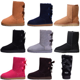 rubber free Promo Codes - Designer Women Winter Snow Boots Fashion Australia Classic Short bow boots Ankle Knee Bow girl MINI Bailey Boot 2019 SIZE 35-41 free ship