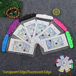 bolsas de agua Rebajas 190 * 105 mm Caja del teléfono a prueba de agua Bolsa a prueba de agua Bolsa para teléfono móvil Borde fluorescente Bolsas secas Bolsa con cordón para iPhone Xs MAX XR X XS 8 7 WCC1-2