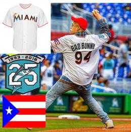patches de bandeira Desconto Mens Maimi 94 Bad Bunny Big Marlins Jersey Tamanho Tamanho XS-6XL Com Porto Rico Bandeira Marlins 25o Aniversário Remendo Camisas De Basebol