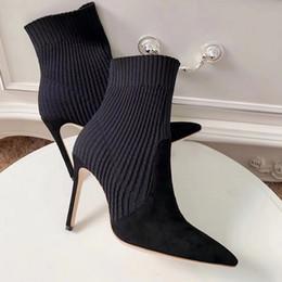 botas de tacón de aguja medio negro Rebajas 5/8 cm de la media pantorrilla del tobillo de arranque punta estrecha alto tacón de aguja Slip-On Sock cargadores para las mujeres Zapatos Negro Invierno Bootie