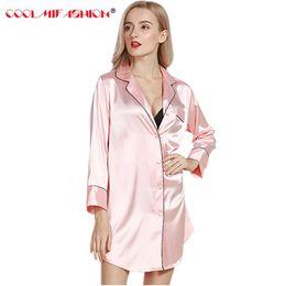 2019 chemise en pyjama en soie Faux Soie Printemps Eté Style Dames Silky Simple Peignoir Femme Pyjama Lounge Femme solide sexy top sexy chemise de nuit Famale chemise en pyjama en soie pas cher