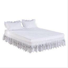 ivory lace bedding Promo Codes - Elastic bed skirt princess bedding sets Twin Full Queen King Lace ruffle bed skirt ruffle bedspread cover set bedspreien