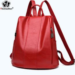 9c7ff2b4baf21 Mode Leder Rucksack Weibliche Anti Theft Frauen Rucksack Große Kapazität  Schultaschen für Mädchen Einfache Umhängetaschen für Frauen
