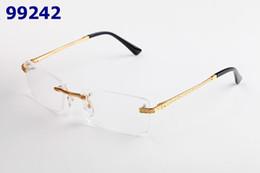 Nerd brille klare linsen online-Mode Brillenfassungen Randlose Brillen Männer Frauen Optische Metall Klare Linse Gläser Nerd Brillenfassungen Mit Original Box