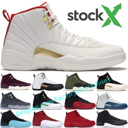 Herren winterstiefel 12 online-StockX 2019 Fiba WINTER OVO Schwarz Weiß Jumpman 12 12s Basketballschuhe Herren Gym rot PRM International Flight PSNY Bordeaux Turnschuhe Stiefel