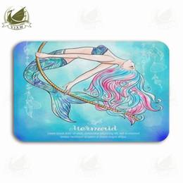 giostre gialle Sconti Vixm A Mermaid Swinging On A Watercolor Background Linen Color Welcome Tappetino zerbino Flanella Ingresso antiscivolo Cucina coperta Tappeto da bagno