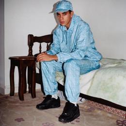 Hoodie riflettente online-18ss Fashion Jacket Donna Uomo Box Logo Coccodrillo Collab Griglia riflettente Anorak Pizex Felpa con cappuccio Abito Pantaloni Pantaloni Tuta HFWPTZ004