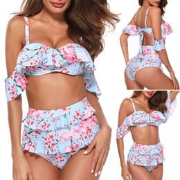 Women Sexy Two-Piece Bikini Set Off Shoulder Tiered Ruffles Padded Bra Cherry Blossom Floral Printed Swimsuit High Waist Thong B supplier ruffle thong bikini от Поставщики бифштексы