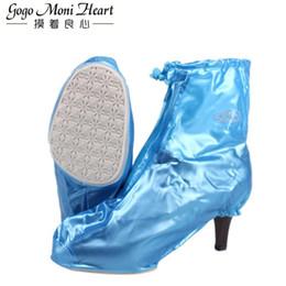 botas de lluvia de tacón rosa Rebajas Impermeable de la lluvia de los altos talones cubre a las mujeres botas de lluvia impermeable Antideslizante Overshoes la cubierta del zapato azul rosado