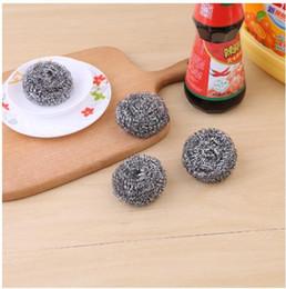 bolas de alambre inoxidable Rebajas Bola de limpieza de alambre 4 unids / set bola de acero bola de limpieza de acero inoxidable Suministros de limpieza de cocina Bolas para lavar platos