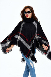 plus größenflügel pullover cardigans Rabatt Fashion- Plus Size Frauen Wolle Plaid Cardigan Pullover mit Stehkragen Cape Batwing Sleeve Knit Poncho Pullover weiblich Troddelschal