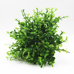 mini wigs Coupons - 10 wigs Mini Flowers Green Artificial Plant Eucalyptus Plastic Money Leaves Grass Bush Home Shop Green Wall Accessories
