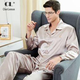 b9d0b8c1e9 CherLemon High Quality Silk Men Pajamas Sleepwear Long-Sleeved Silk Satin  Nightwear Soft Spring Autumn Pyjamas Plus Size M-4XL