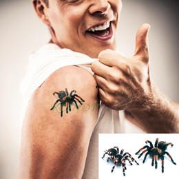 2019 autoadesivo dell'uomo del ragno 3d Autoadesivo del tatuaggio temporaneo impermeabile 3D Spider spaventoso Tatto Flash Tatoo Tatoo arte di piccola dimensione Tatouage per uomini donne ragazza sconti autoadesivo dell'uomo del ragno 3d