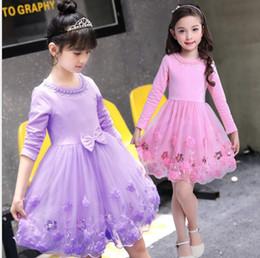 2019 vestido bordado beige Niñas vestidos de tutú Otoño Bowknot Vestidos de bebé Niñas Bordado Princesa Vestido Niño estilo coreano Pettiskirt Ropa para niños YL971 rebajas vestido bordado beige