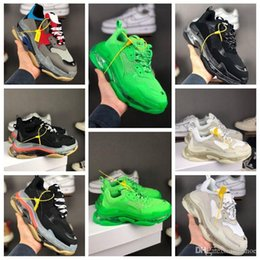 Scarpe da logo rosa online-2019 hot sale Balanciaga Triple S super high version dad shoes transparent air cushion green multicolor men's shoes women's pink casual sports shoes with logo size 36-45
