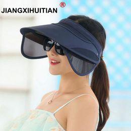 2017 New Retractable Visor Female Summer Sun Empty Top Hat Solid Unisex  Sombrero Cap UV Sun Hat Woman Beach Hat Headwear D19011103 483eaac96003