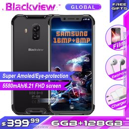 4g de smartphone robusto Desconto Blackview BV9600 Pro IP68 Waterproof 6.21inch robusto Smartphone FHD + Helio P70 6GB 128GB 5580mAh global 4G Mobile Phone