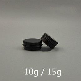 leere lipgloss-behälter Rabatt 10g 15g Matte Black Aluminium-Glas Leer Lipgloss Augencreme Flasche nachfüllbare Lotion Probe Travel Tin Container Freies Verschiffen