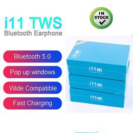 sunglass musik kopfhörer Rabatt i11 tws Bluetooth 5.0 drahtlose Bluetooth-Kopfhörer ture Stereo-Pop-up-Fenster drahtloses Headset Ohr- mit Touch-Steuerung für Smartphone DHL