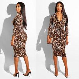 071184a5b517 Leopard cerniera collo partito sexy aderente abito elastico a vita alta  ufficio signora guaina midi donne estate abiti eleganti streetwear